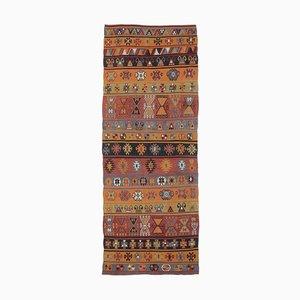 4x11 Vintage Turkish Handmade Wool Navajo Oushak Runner Rug