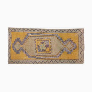 1x3 Vintage Turkish Oushak Doormat or Small Carpet