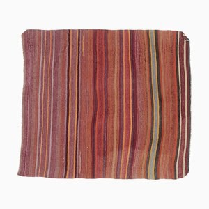 4x4 Vintage Turkish Oushak Small Flatweave Rug or Doormat