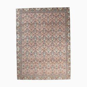 Tappeto Ikat vintage fatto a mano di lana Oushak 9x11 rosa, Turchia