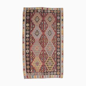 7x11 Türkischer Vintage Oushak Handgeknüpfter Kilim Teppich aus roter Wolle