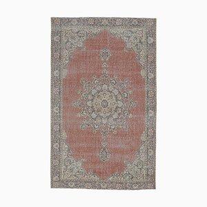 Tappeto 7x11 vintage Medio Oriente orientale Oushak in lana rossa lavorata a mano