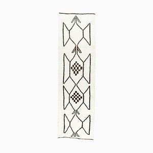3x10 Antique Turkish White, Cream & Brown Motif Oushak Runner Rug