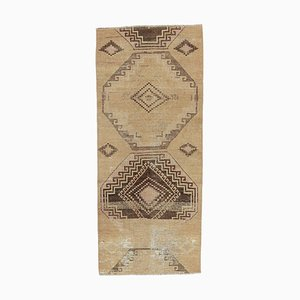 2x5 Vintage Turkish Oushak Handmade Wool Hallway Runner Rug