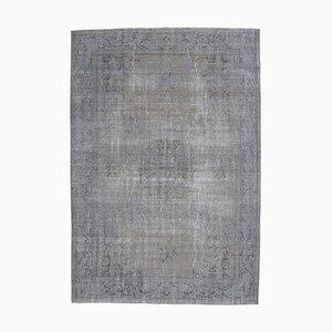7x10 Türkischer Vintage Oushak Handgemachter Teppich mit Grauem Wollbezug