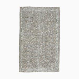 7x11 Türkischer Vintage Oushak Handgeknüpfter Floraler Teppich aus Wolle