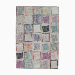 Tapis Oushak Vintage Fait Main en Patchwork de Laine, Turquie, 6x9
