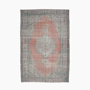 7x10 Vintage Middle East Oushak Red Handmade Wool Carpet