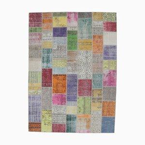 Tappeto Oushak vintage fatto a mano con patchwork di lana, Austria