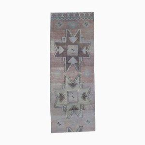 Tappeto da corridoio Oushak 2x6 antico in lana fatti a mano, Turchia