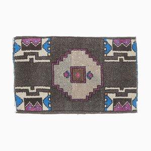 2x2 Türkischer Vintage Oushak Teppich oder Fußmatte aus Wolle