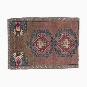 2x2 Vintage Turkish Oushak Handmade Wool Doormat or Rug