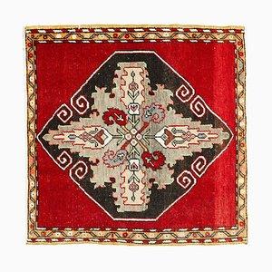 2x2 Vintage Turkish Oushak Handmade Wool Rustic Small Rug