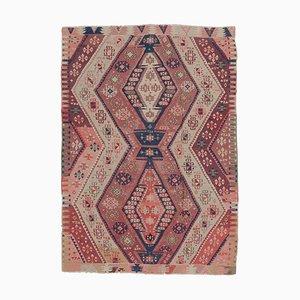 Handgearbeiteter 4x4 Vintage Navajo Kilim Oushak Teppich aus Wolle