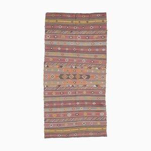 6x11 Vintage Turkish Oushak Handmade Red Wool Kilim Area Rug