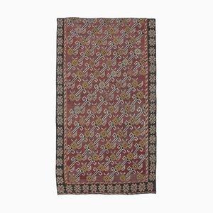 5x8 Vintage Turkish Oushak Handmade Red Wool Kilim Area Rug