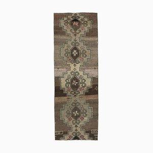 3x8 Türkischer Vintage Oushak Brauner Orientalischer Woll Teppich