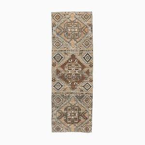 Tappeto Oushak vintage in lana fatto a mano 3x9 marrone