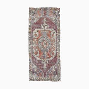 Tappeto Oushak 4x9 vintage in lana color cremisi, Medio Oriente