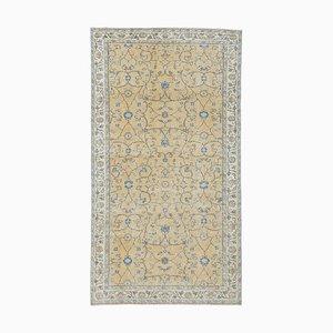 Türkischer Vintage Oushak 4x7 Handgemacht Teppich mit Orangeem Wollbezug