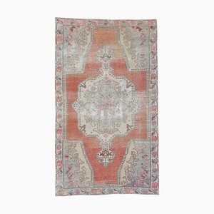 5x8 Vintage Middle East Oushak Handmade Wool Carpet in Red