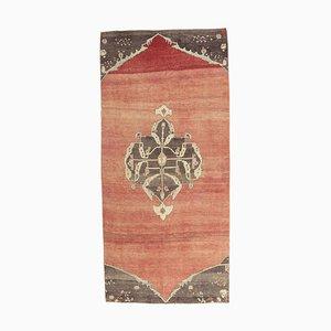 Handgeknüpfter türkiser türkiser Vintage 5x10 Oushak Ikat Teppich aus roter Wolle