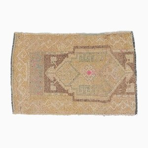 1x2 Vintage Turkish Oushak Doormat or Small Carpet