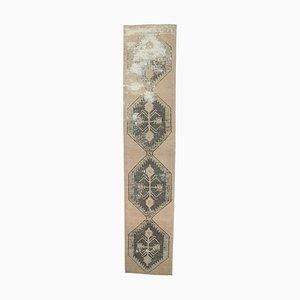 Tappeto da ingresso Oushak vintage in lana fatto a mano 3x14