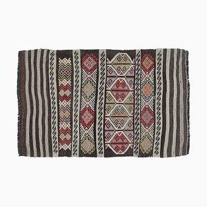 2x3 Türkischer Vintage Cicim Kilim Oushak Handgewebter Wollteppich