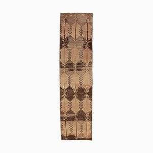 3x11 Vintage Turkish Oushak Handmade Wool Ikat Runner Rug