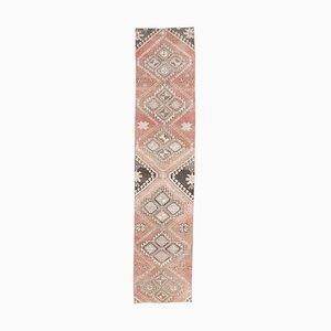 2x10 Vintage Turkish Oushak Handmade Wool Rug in Pink