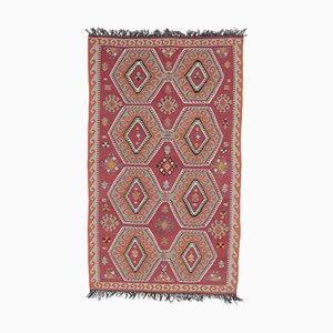 5x9 Vintage Turkish Kilim Oushak Handmade Red Wool Rug
