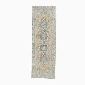 3x9 Vintage Turkish Oushak Handmade Wool Faded Runner Rug