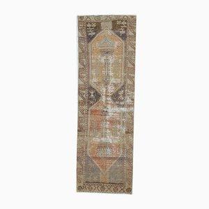 3x9 Vintage Turkish Oushak Primitive Handmade Wool Runner Rug
