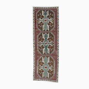 3x9 Türkischer Vintage Oushak Eclectic Hand-Knotted Wollen Läufer-Teppich