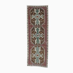 3x9 Vintage Turkish Oushak Eclectic Hand-Knotted Wool Runner Rug