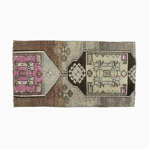 3x5 Türkischer Vintage Oushak Handgewebter Kleiner Teppich aus Wolle