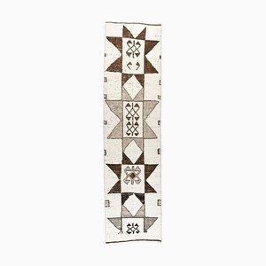 3x11 türkischer Vintage Oushak Boho Läufer aus handgewebter Wolle