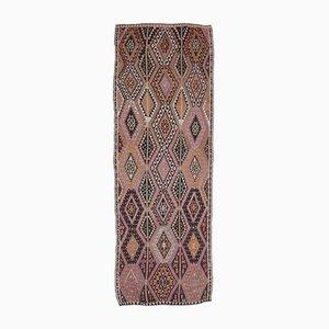 4 × 13 Türkischer Vintage Kilim Ouschak Handgewebter Flachgewebe Teppich aus Wolle