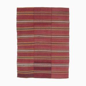 Tapis Kilim Oushak Vintage Fait Main en Laine Rouge, Turquie, 5x7