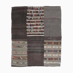 7x8 Vintage Turkish Oushak Handmade Black Wool Kilim Area Rug