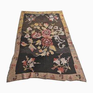 4x7 Vintage Turkish Oushak Handmade Brown Wool Kilim Area Rug