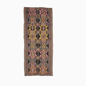 Tappeto 5x13 vintage fatto a mano in lana di Oushak, Kilim, Turchia