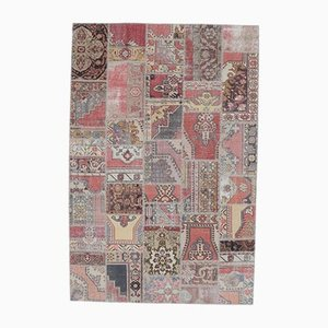 Tappeto Oushak vintage in lana con patchwork fatto a mano 7x10