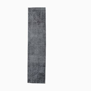 3x12 Vintage Turkish Oushak Handmade Black Solid Wool Runner Rug