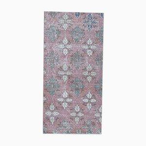 3x5 Vintage Turkish Oushak Handmade Wool Rug in Pink Bloom