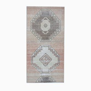 3x6 Vintage Turkish Oushak Handmade Wool Runner Rug
