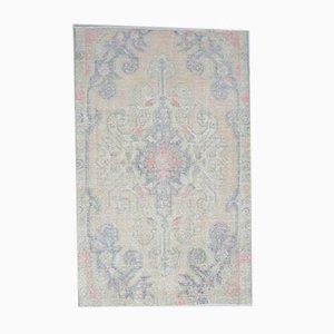 4x7 Antique Turkish Oushak Handmade Wool Faded Carpet