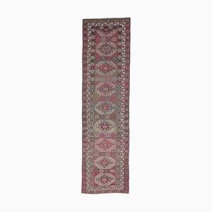 3x12 türkischer Vintage Oushak Teppich aus handgewobener Wolle in Rosa