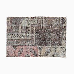 2x3 Antique Turkish Oushak Handmade Wool Rug in Brown